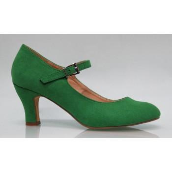 Chaussure de Flamenca en cuir daim couleur vert Andalucía