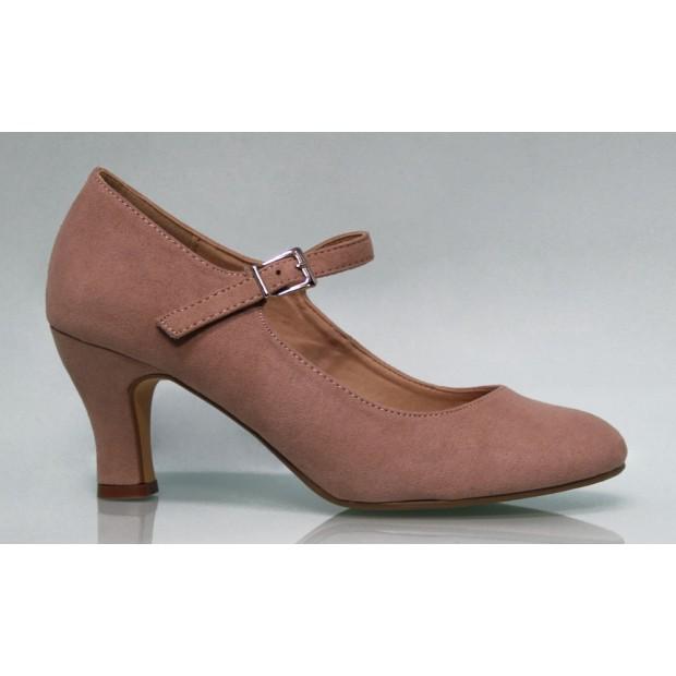 Zapato Flamenca Ante Color Maquillaje