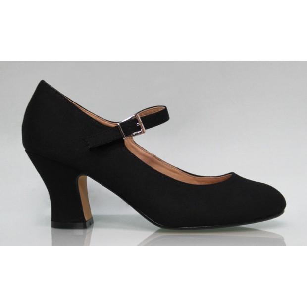 Zapato Flamenca Lona Negro