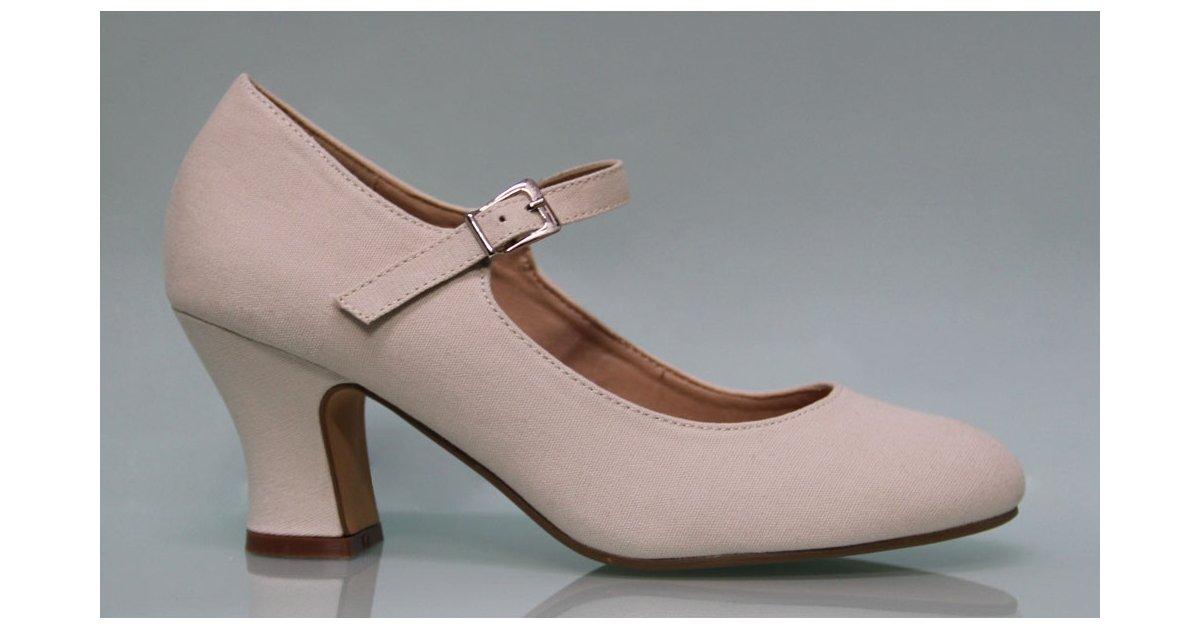 Beige Canvas Flamenco Shoe