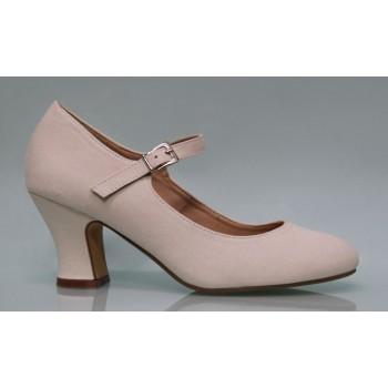 Zapato Flamenca Lona Beige