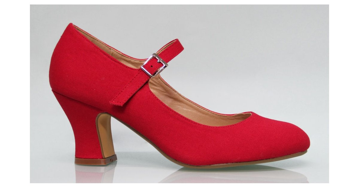 Red Canvas Flamenco Shoe