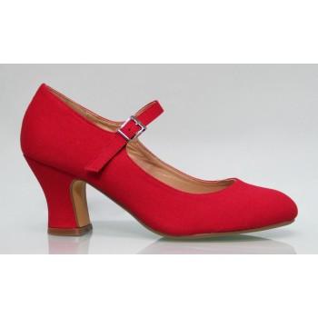 Zapato Flamenca Lona Rojo