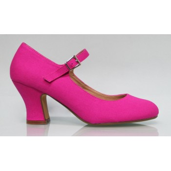 Zapato Flamenca Lona Fucsia