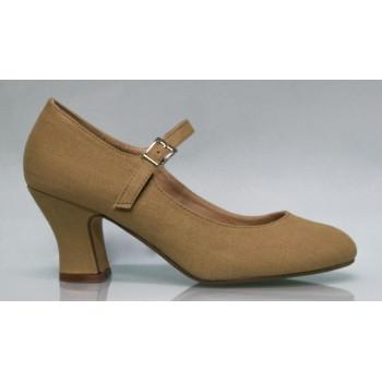Zapato Flamenca Lona Color Tierra