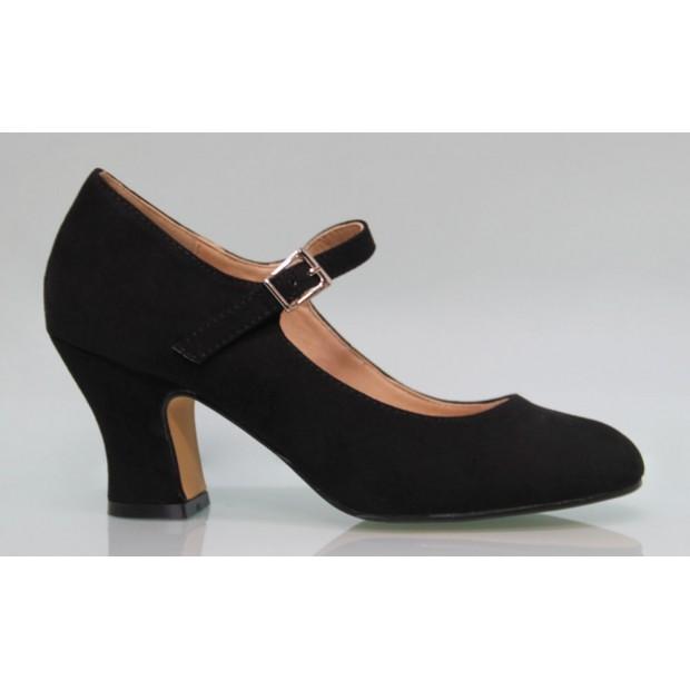 Black Flamenca synthetic Suede Shoe