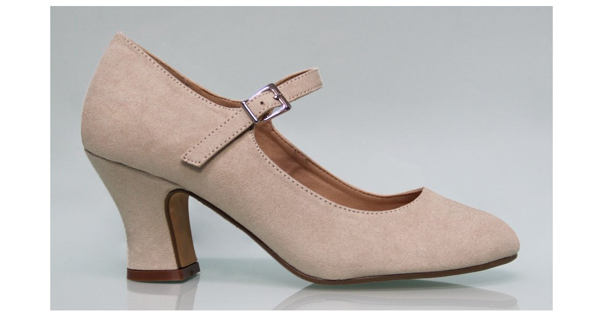 Beige Suede Flamenco Shoe