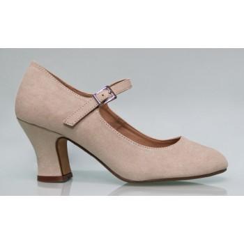 Chaussure de flamenco en daim beige