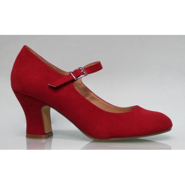 Chaussure de flamenco en daim rouge