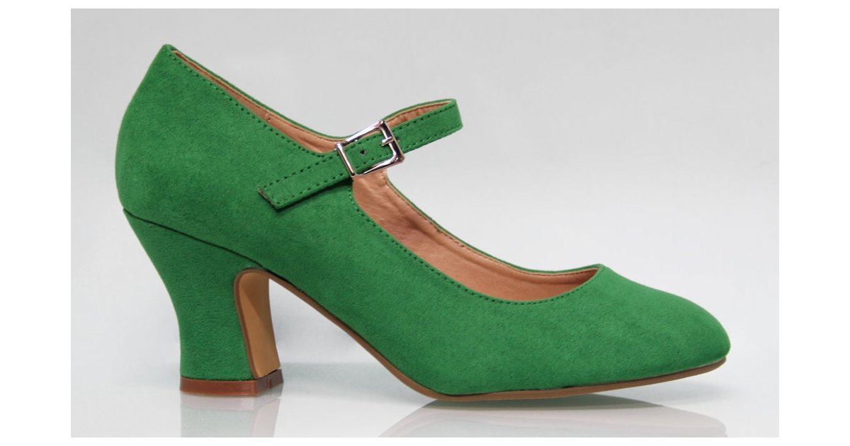 Suede leather Flamenca shoe Green color Andalucía