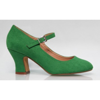 Green color Andalucía Flamenca synthetic Suede Shoe
