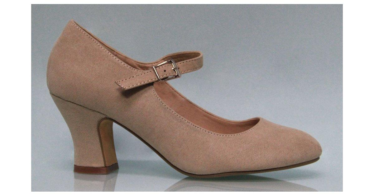 Zapato Flamenca Antelina Color Tierra
