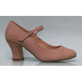 Zapato Flamenca Antelina Color Maquillaje