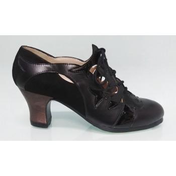 Zapato Profesional Piel y Charol Negro con Cordones