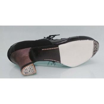 Chaussure professionnelle à lacets en cuir et cuir verni noir