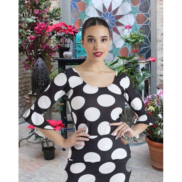 Black Flamenco Top Polka Dots