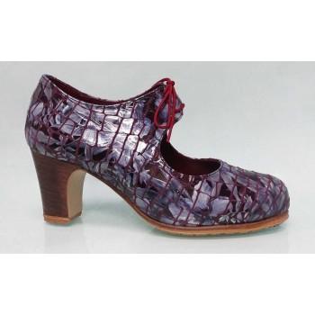 Chaussure de danse flamenco professionnelle en cuir fantaisie