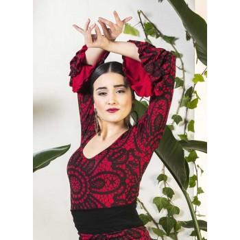Top flamenco estampado rojo