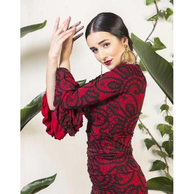 Haut flamenco imprimé rouge