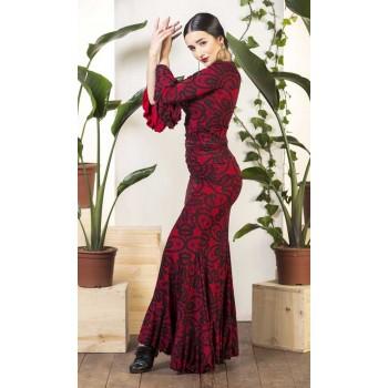 Falda flamenco Olvera estampado rojo