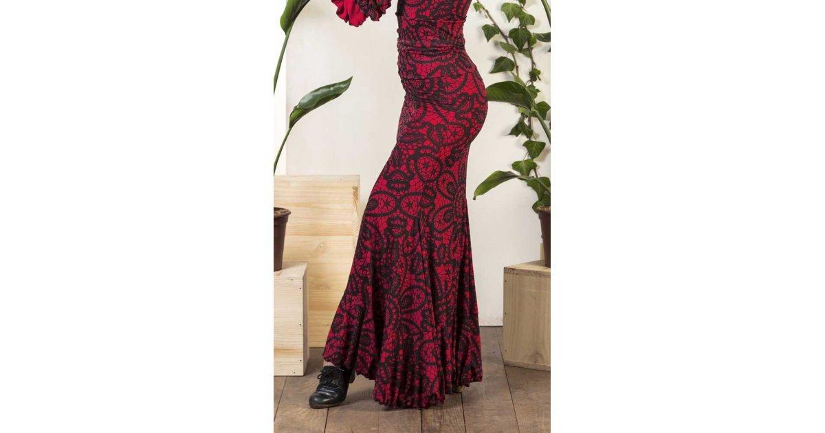 Jupe de flamenco Olvera imprimé rouge