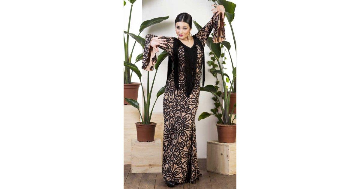 Robe Flamenco À Imprimé Camel