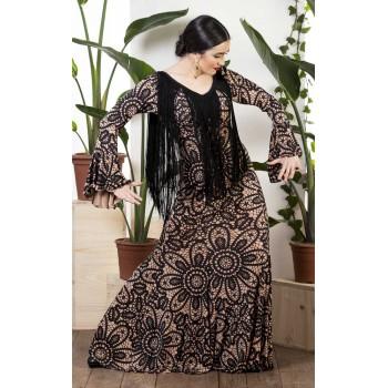 Vestido Flamenco Estampado Camel