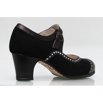 Professional flamenco dance shoe leather and black suede