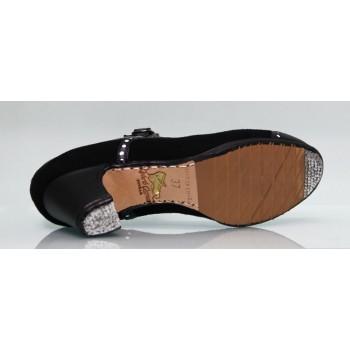 Zapato de baile flamenco profesional piel y ante negro