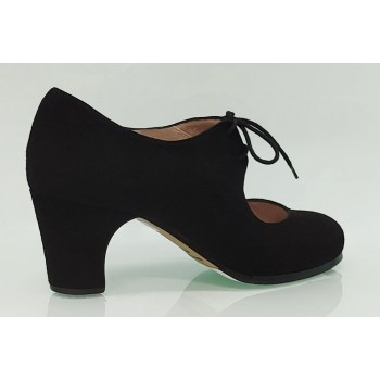 Black suede semi-professional flamenco dance shoe