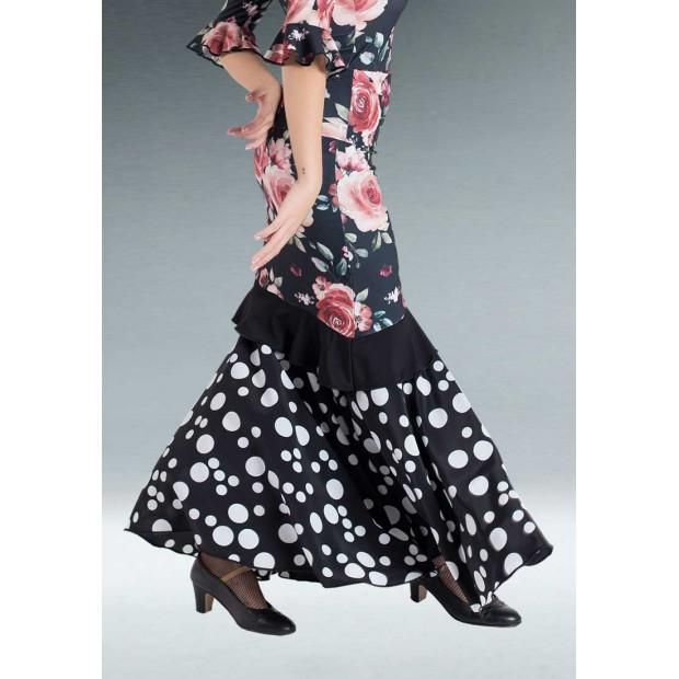 Falda Flamenco Negra Combinada Flores y Lunares