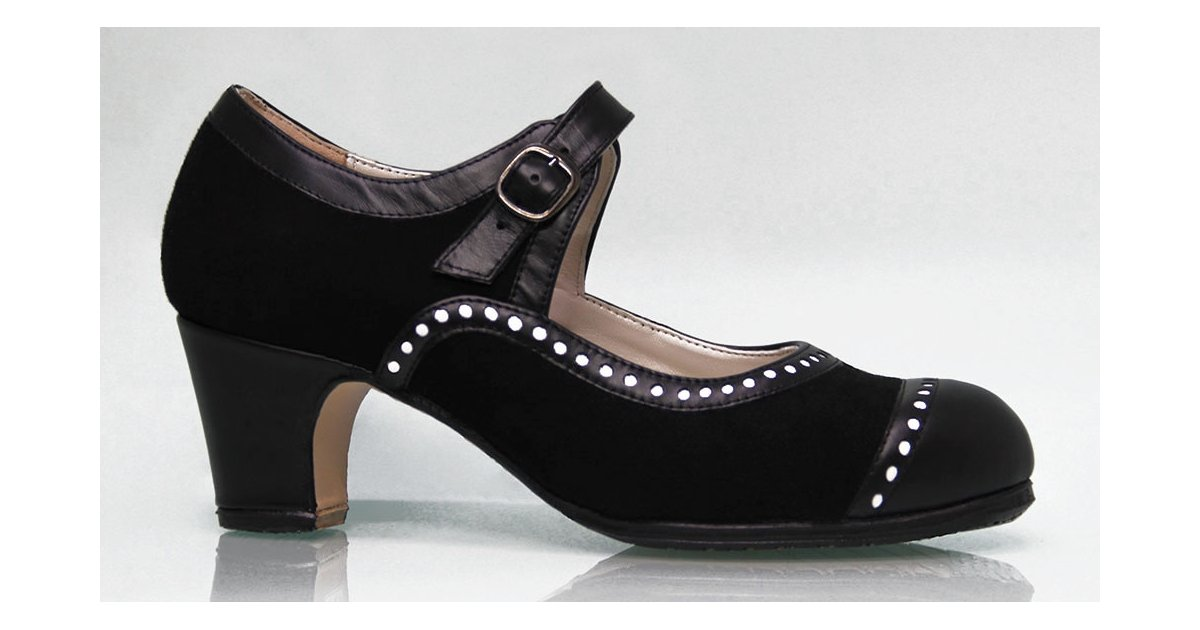Professional flamenco dance shoe suede and black leather