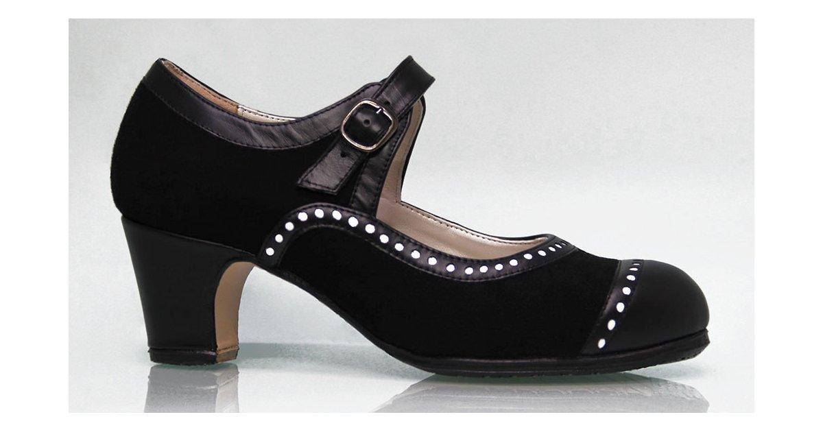 Zapato de baile flamenco profesional ante y piel negro