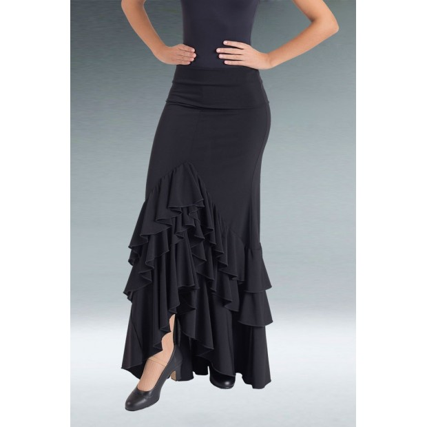 Black Flamenco Skirt 3 Ruffles