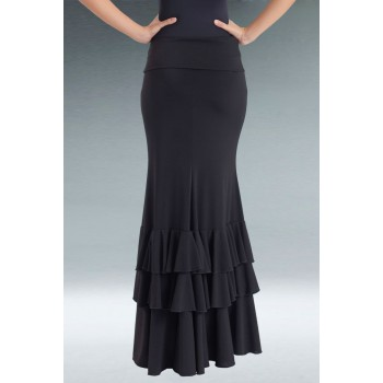 Black Flamenco Skirt 3 Ruffles