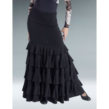 Falda Flamenco Negra Volantes