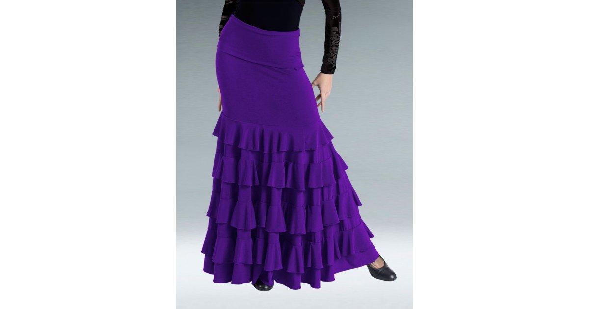 Falda Flamenco Color Cardenal Volantes