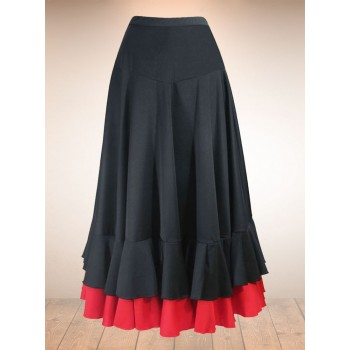 Black Flamenco Skirt with 2 Ruffles