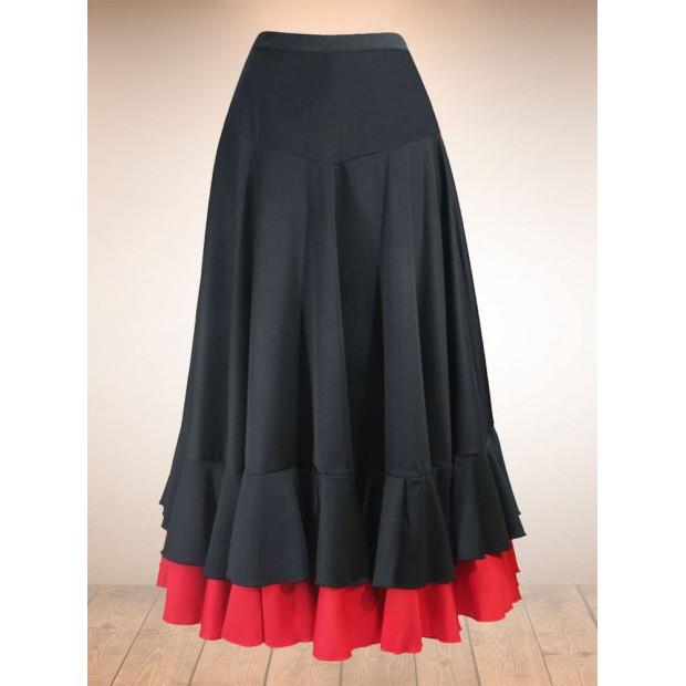 Black Flamenco Skirt with 2 Ruffles