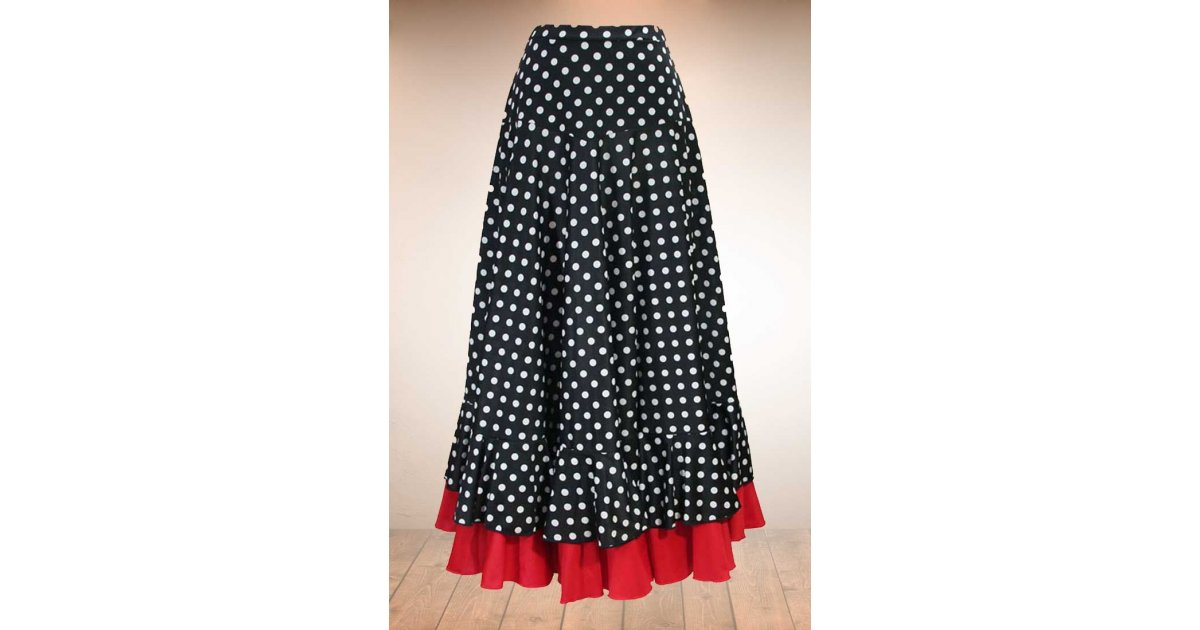 Black flamenco skirt with white polka dots and red ruffle