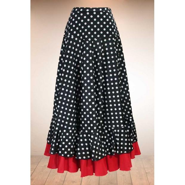 Jupe flamenco noire à pois blancs et volants rouges