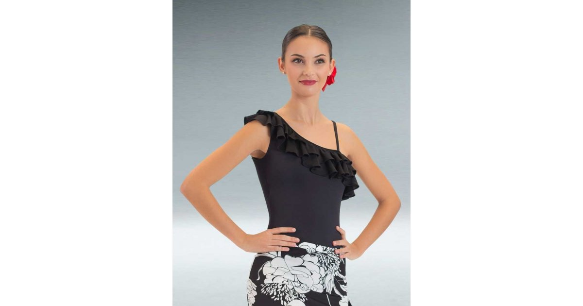 Black Flamenco Maillot with Two Ruffles