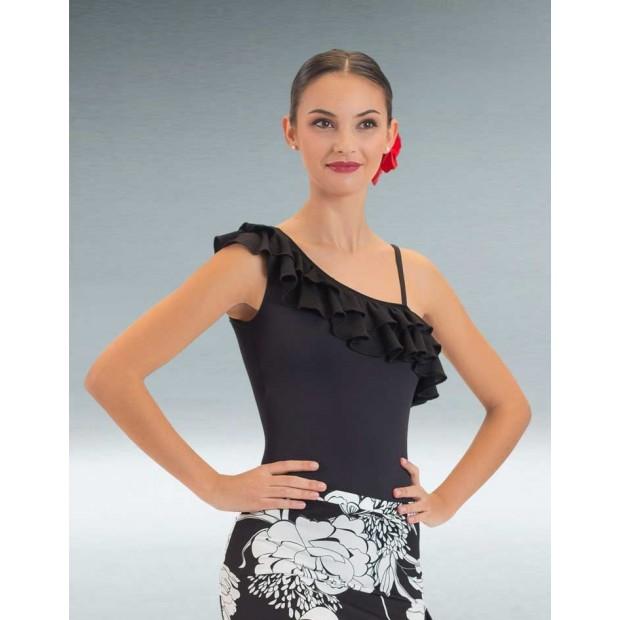 Maillot Flamenco Noir avec Deux Volants