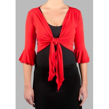 Femme cardigan flamenco rouge
