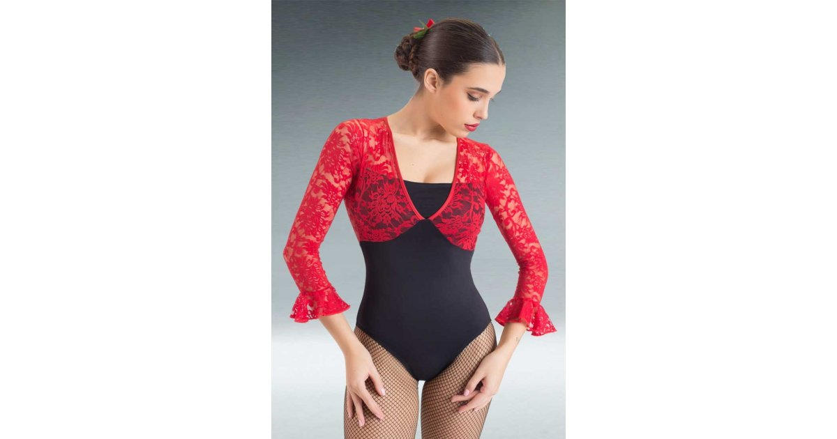 Black Flamenco Maillot with Red Lace