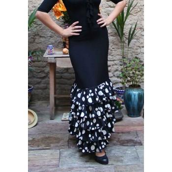 Falda Flamenco Zagra Negra con 5 volantes de lunares