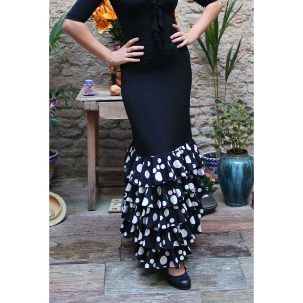 Black Zagra Flamenco Skirt with 5 polka dot ruffles.