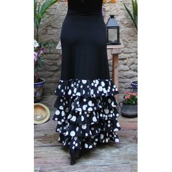 Black Zagra Flamenco Skirt with 5 polka dot ruffles.