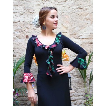 Black Flamenco Top Flower Ruffles