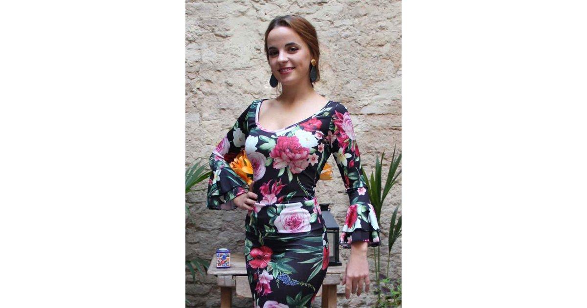 Haut flamenco à imprimé floral